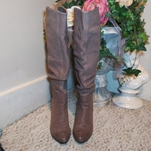 Like New Bronx Tall Brown Wedge Scrunchy Boots